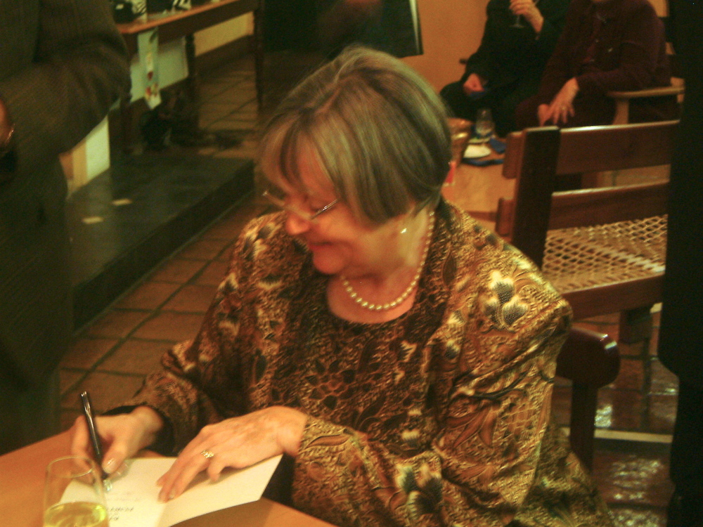 Signing the book launch