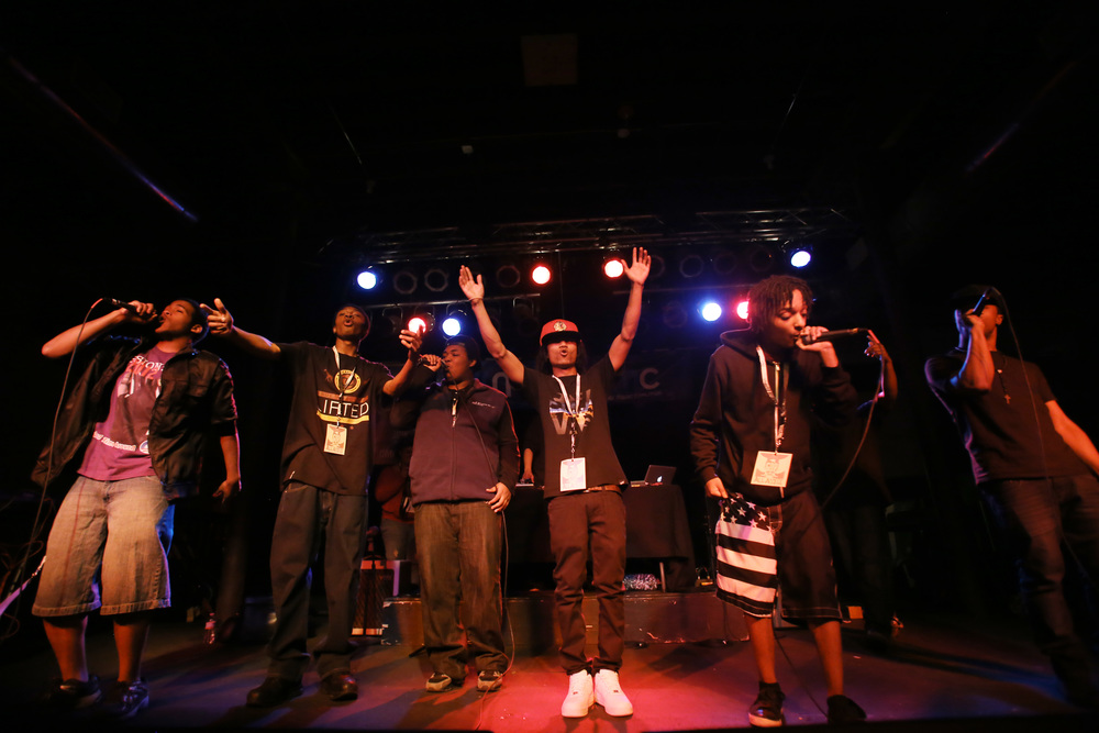 Emerging hip-hop act, Media Fresh, took the Wooly's stage at this year's Gross Domestic Product.    Photo by Brenna Norman