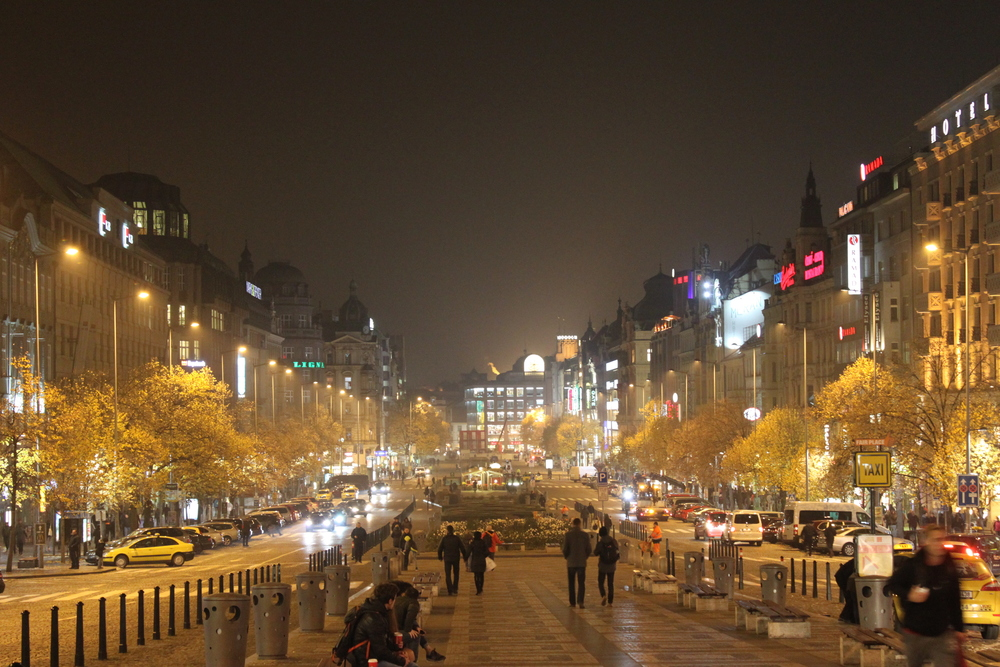 St Wensaslas Square at Night  Prague
