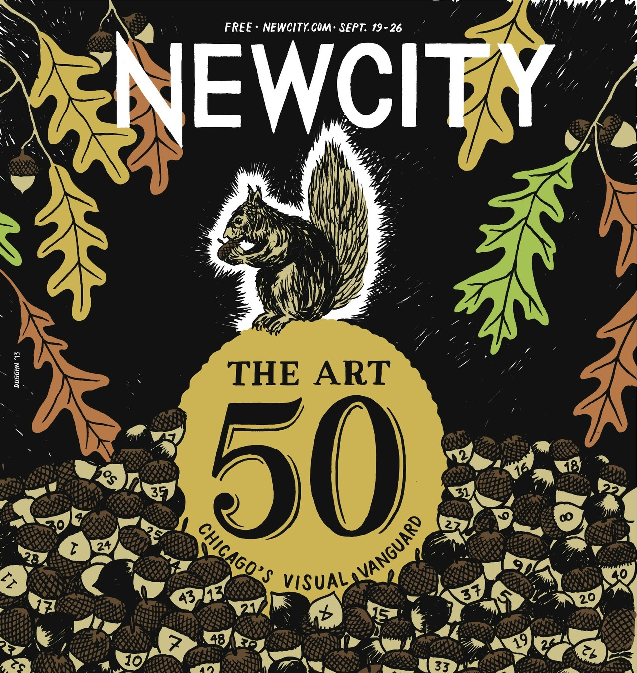 """Ryan Duggan's illustration for Newcity's """"The Art 50"""" issue. Find it here. Come see more of Ryan's work this weekend at our booth in Fountain Art Fair!"""