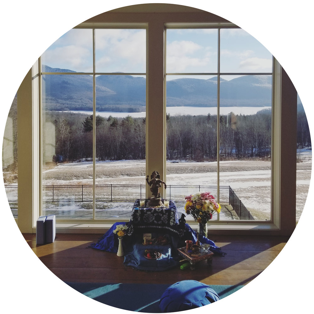 View from our yoga practice space in the barn at the Mountain Top Inn & Restort in Chittenden, VT - Inspire & Restore Retreat, January 2018