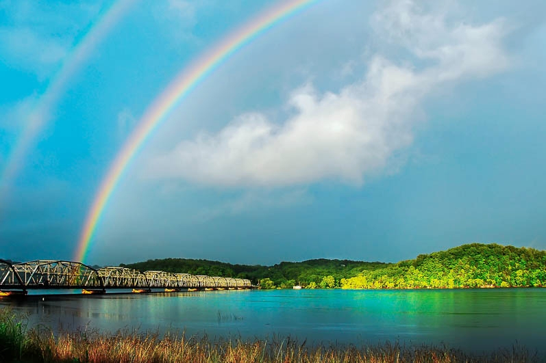 Rainbow over Theodosia Bridge on Bull Shoals Lak