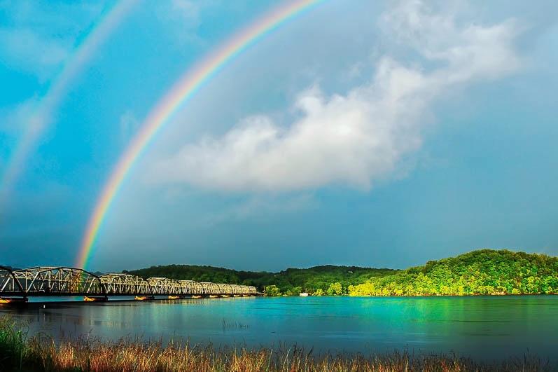 Rainbow over Theodosia Bridge on Bull Shoals Lake