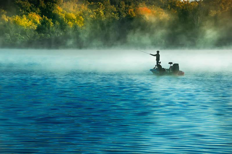 Fishing on Bull Shoals Lake at Theodosia, Missouri