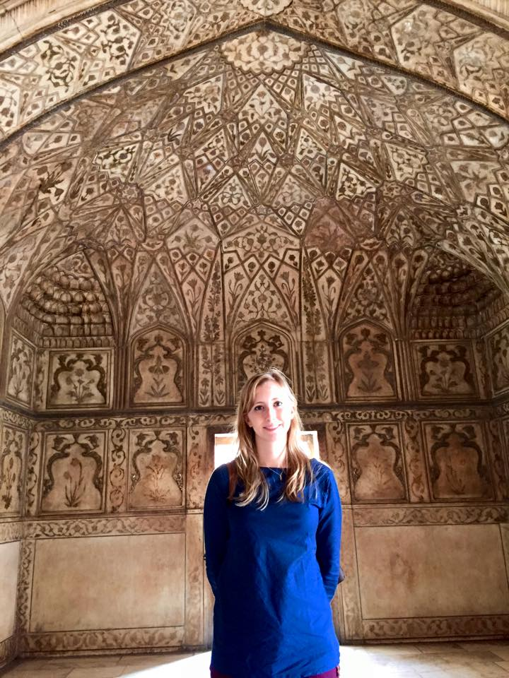 Stone carving throughout the interior of one of the rooms at the Agra Fort (and me if you click into the picture!)