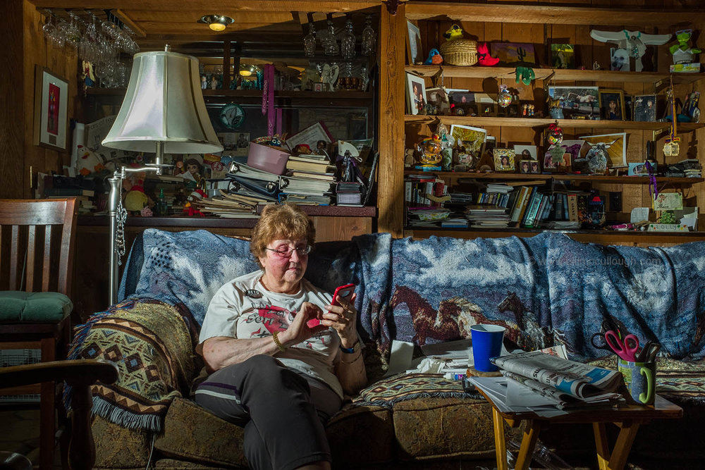 Lolly Lockhart in her home that she offered as a Pop Up for the Beto O'Rourke senate race, Pflugerville, Texas, 2018. Published for the New Yorker Photo booth.
