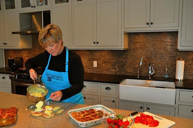 Val preparing breakfast