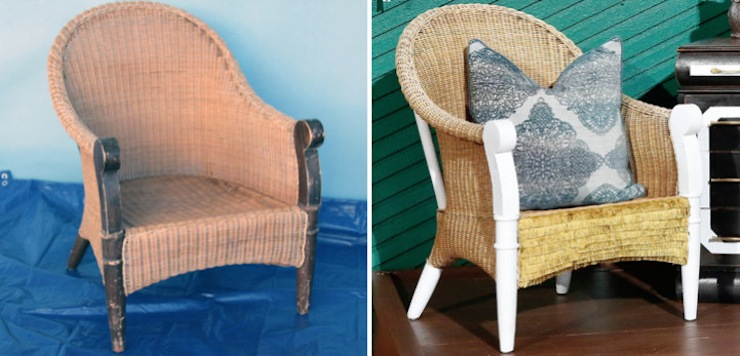 Materials: Gold Fringe Upholstery Trim + Hot Glue Gun + White Paint