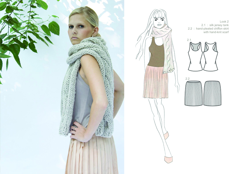 silk chiffon hand-pleated skirt : silk jersey tank : hand-knit scarf