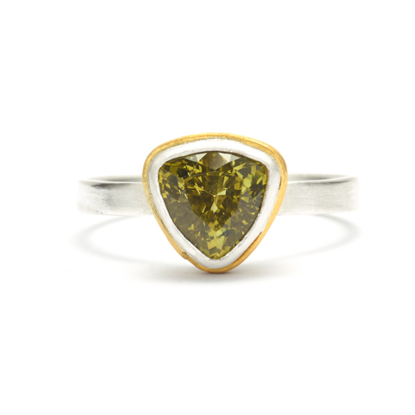 Handmade, unique engagement ring, gold-wrapped bezel, green garnet.