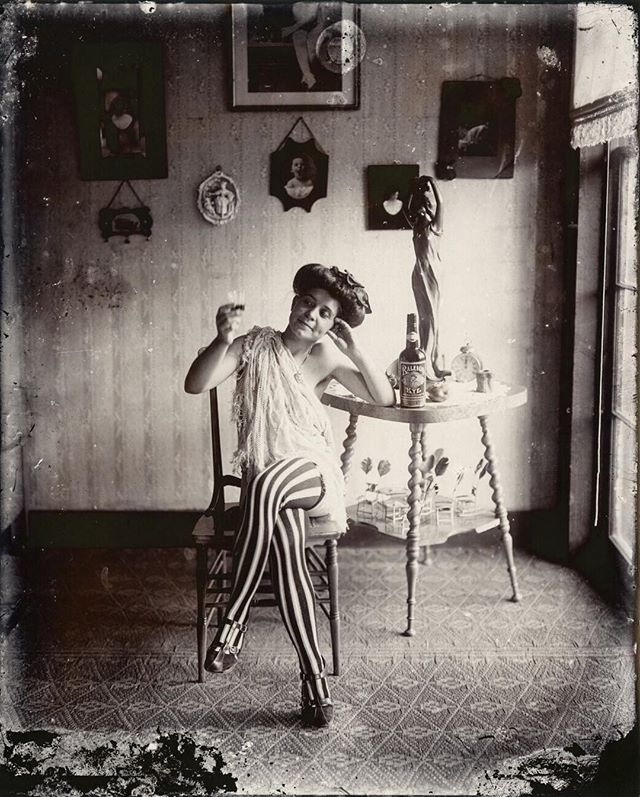 Headed to New Orleans for the week. 🎶 E.J. Bellocq portrait of a woman in Storyville, New Orleans from the early 1900s. #ejbellocq #stripedstockings #neworleans #storyville