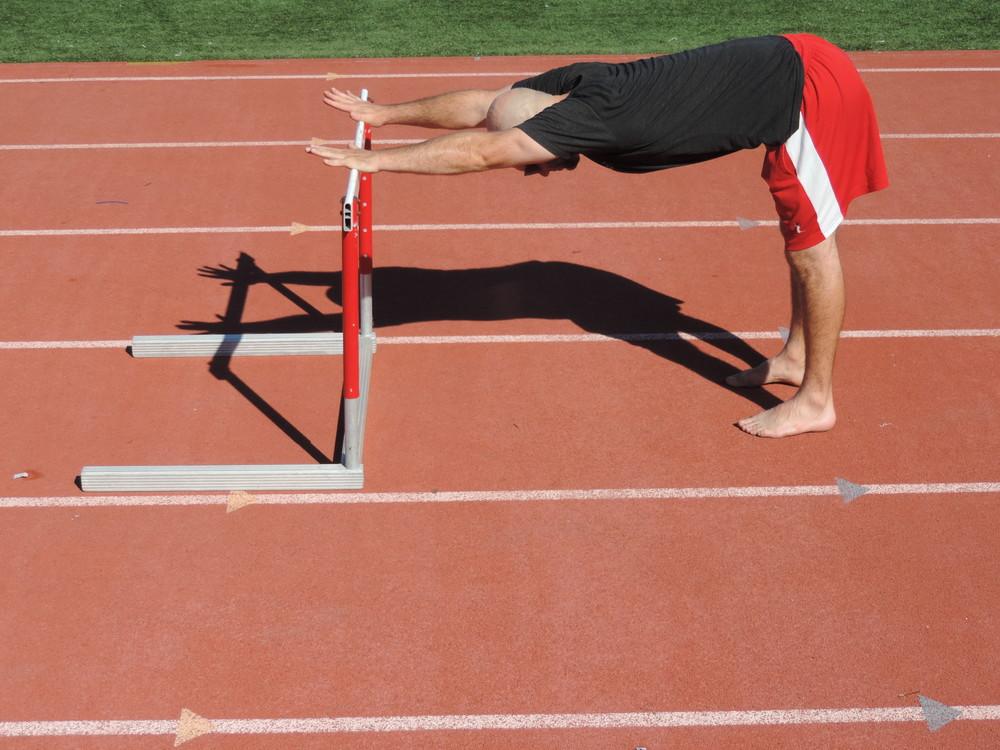 Ardha adho mukha svanasana on the hurdles...