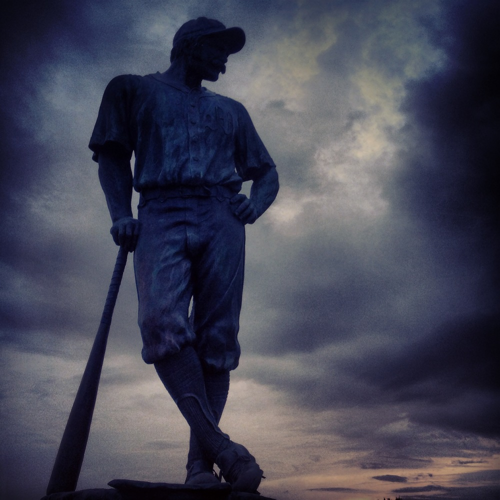 Casey at the Bat statue outside Space Coast Stadium after a storm in Viera, Florida.