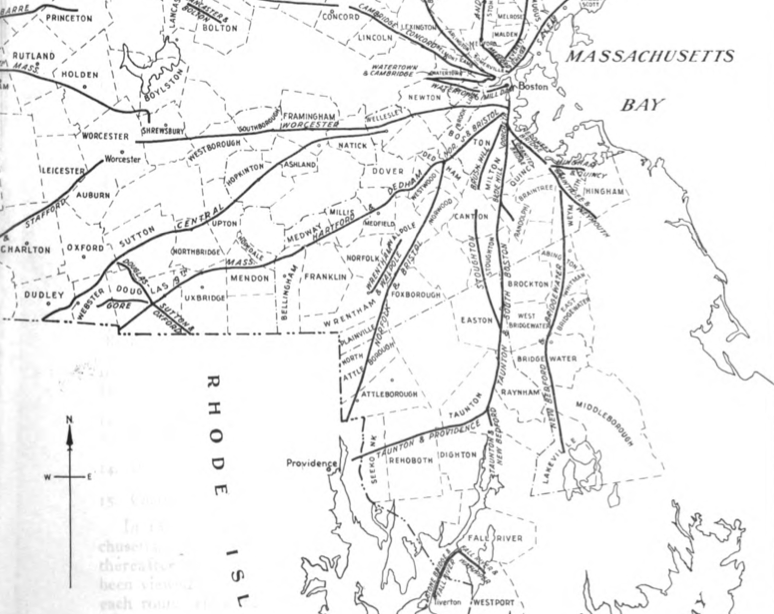 The route of the Central Turnpike takes it from Wellesley center, down to Dudley, and then into Connecticut. From The Turnpikes of New England by Frederic J. Wood, 1919.
