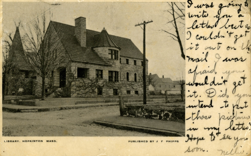 An undated photograph of Hopkinton's 1895 public library building. From the collection of the Hopkinton Public Library.