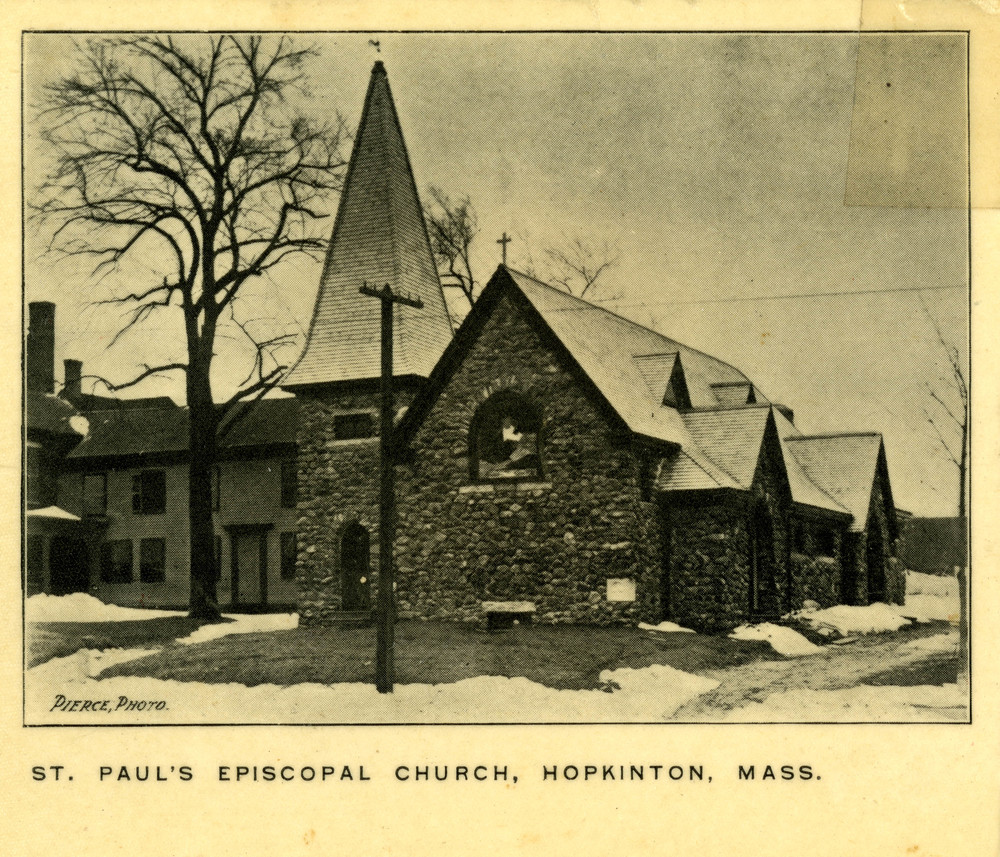 An undated photograph of St. Paul's Episcopal Church. From the collection of the Hopkinton Public Library.