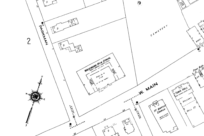 This 1943 map shows the Spurr House and the Forbes Building (then serving as the town's high school) on their shared lot at the corner of West Main and Parkman streets.