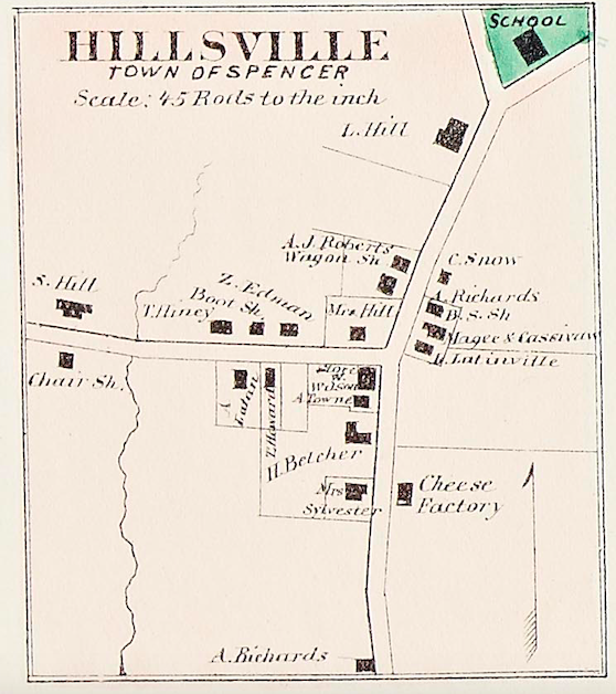 This 1870 map of Spencer's Hillsville village shows Sullivan Hill as the owner of the Barnes-Hill House, far left. His chair shop is marked across the street from the house.
