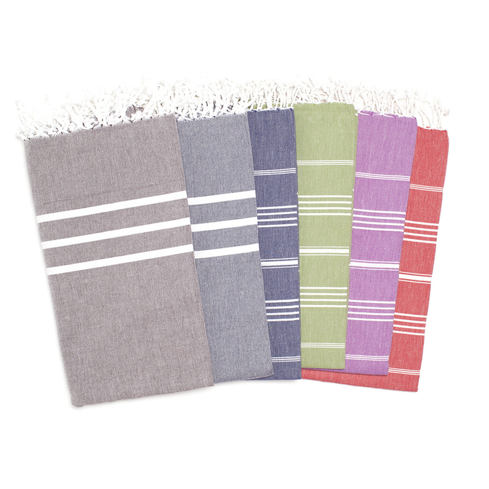 An array of colors to choose from with our Turkish Towels! Super absorbent and incredibly soft, handmade in Turkey.
