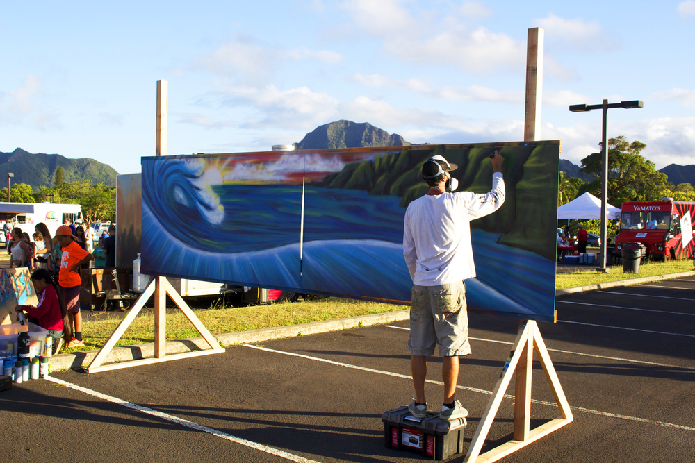 "LIVE art by Seth Womble, here he is painting a 14x16 Mural titled ""Enjoy the Journey"""