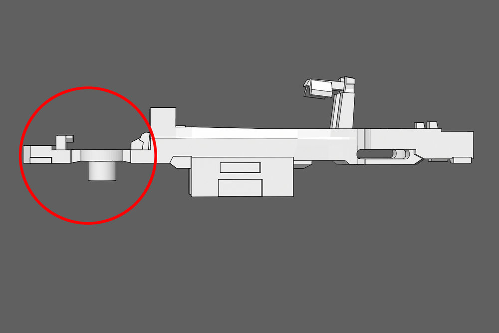 The Frame - The frame has much less mass in the front area (circled in red) compared to the rear. This area can be bent during printing, tumbling, or shipping. Make sure the frame is straight. If it is misshapen, use pliers to straighten it.