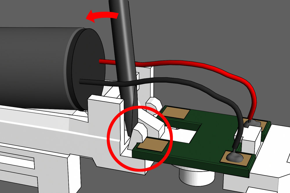 Step 9 - If the board is not held tight in place, use a screw driver to wedge the clamps shut. Use the cross bar behind the motor as leverage for the screw driver.