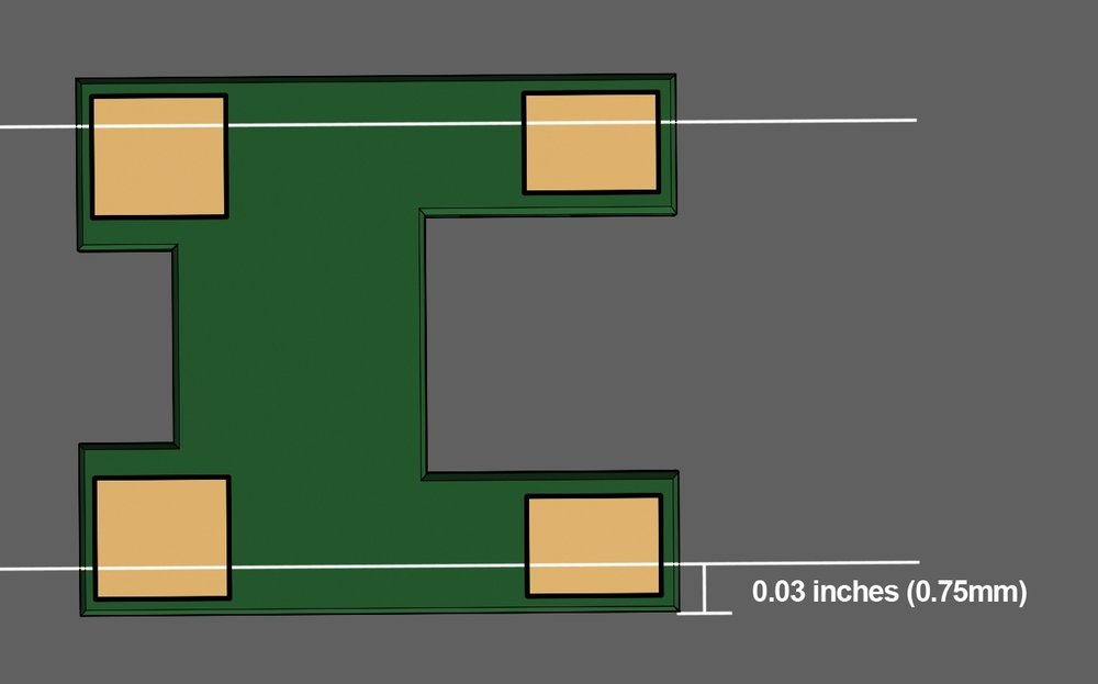 Step 2 - Measure 0.03 inches (0.75 mm) from the long side of the printed circuit board (PCB) and mark it with a pen or pencil. The white lines in the illustration show where to cut. Using heavy tin snips, cut thin slices away until the measured area is completely removed from both sides of the PCB.