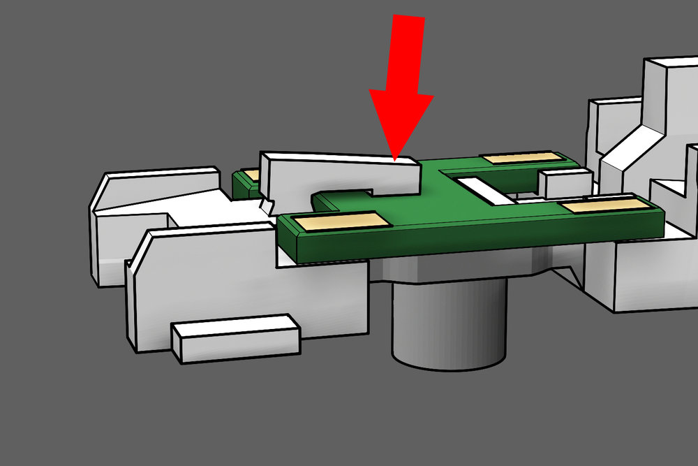 Step 8 - Push down the clamp arm to lock the circuit board into place.