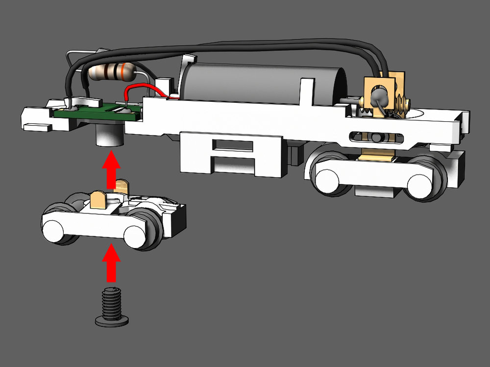 Step 18 - Place the other truck onto the frame.Tighten the shorty's screw into place to hold the truck onto the frame.