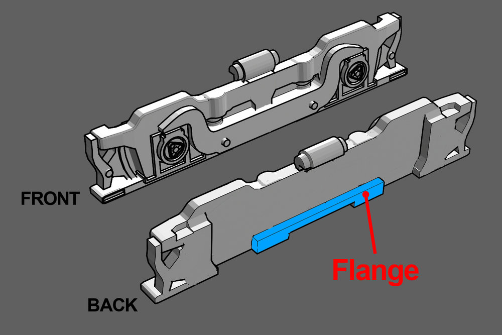 Step 21 - Snap off the faux truck sides from the sprue. Take note of the flange on the backside (highlighted in blue).