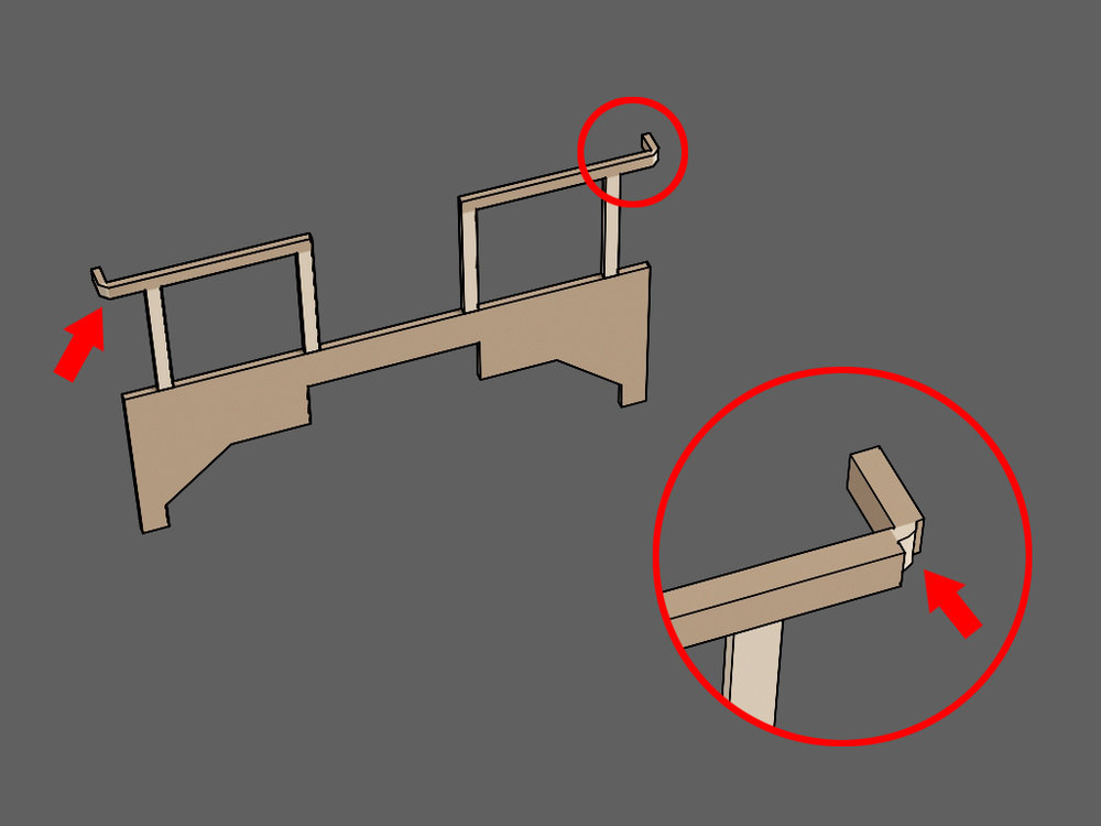 Step 2 - There is a tab at the outer end of the handrail.Locate the indented line the red arrow is pointing to in the illustration.At that line, bend the tab 90 degrees backward as seen in the illustration.