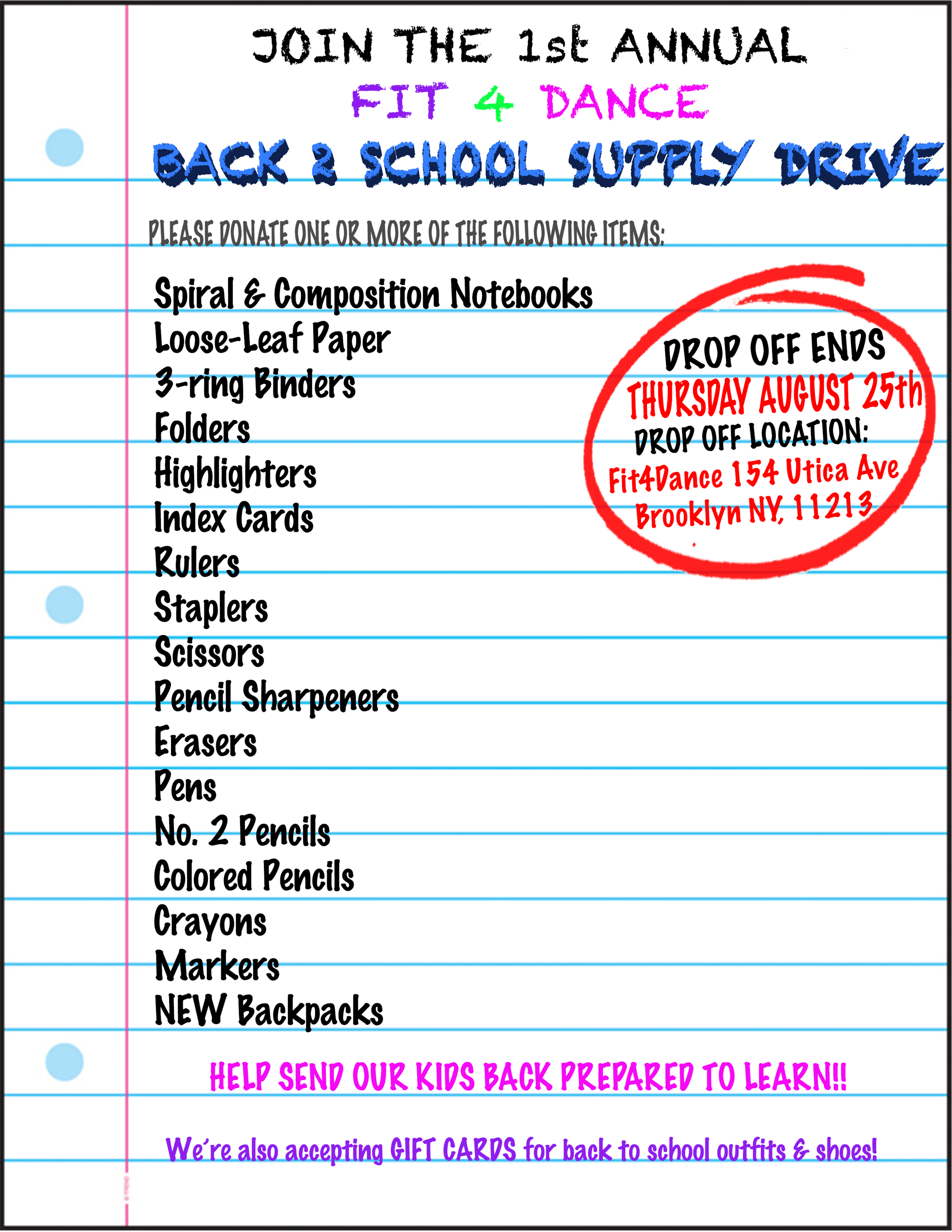 Fit4Dance & Breaktapes Hosts a Back to School Supply Drive