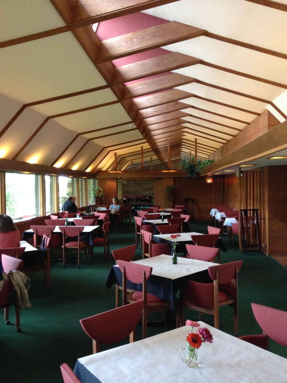 "The visitor center at Taliesin, originally designed by FLW as a client ""receiving"" area overlooking the Wisconsin River (out the windows to the left)."