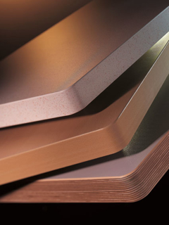 Samples of PVC edges on cabinet components.
