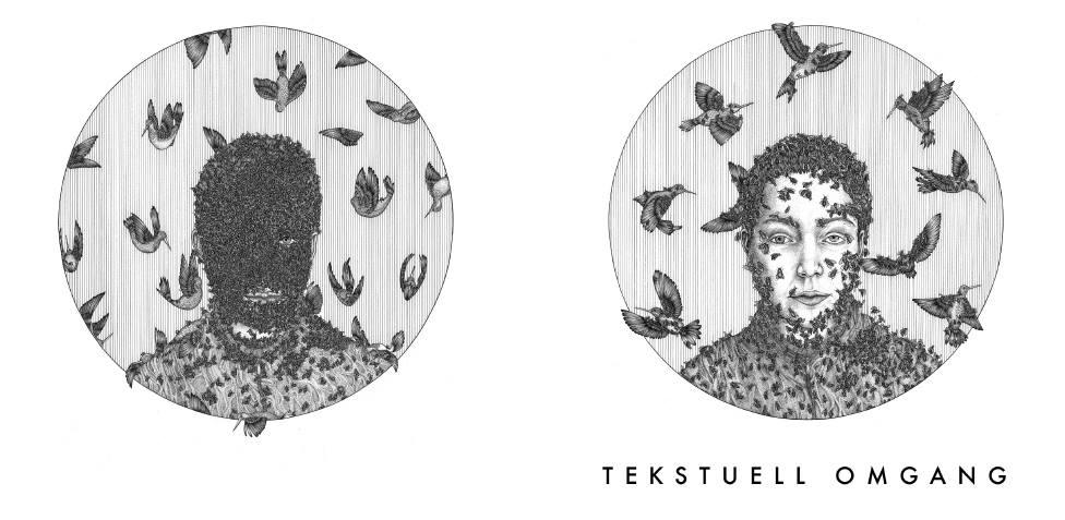 Bakside og forside på Tekstuell Omgang-antologien. Illustrasjoner av Nora Brech .