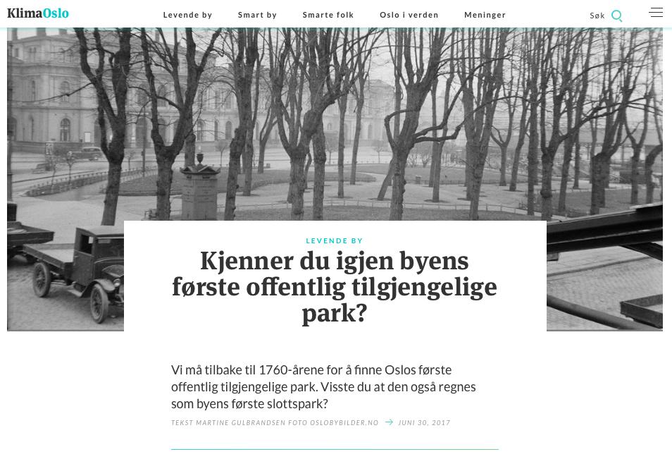 Oslos første offentlige tilgjengelige park