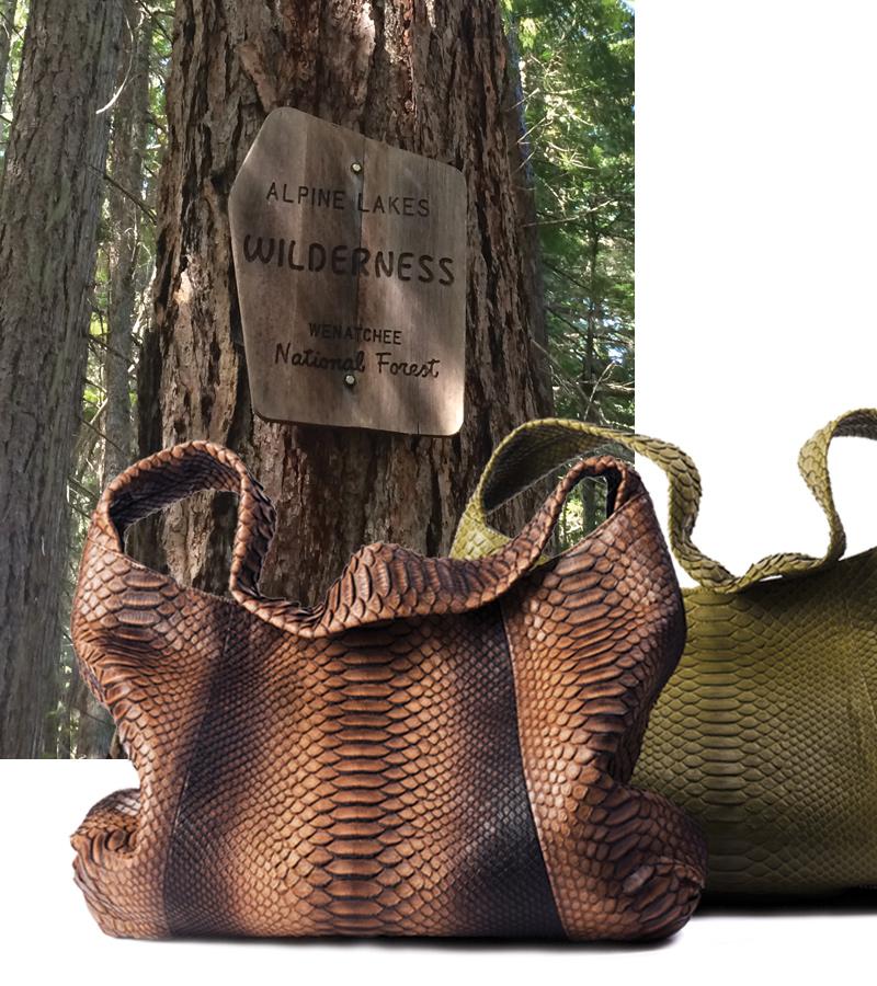 Charlotte Hobo, Chocolate Ombre or Olive Python. Background: Wenatchee National Forest, Washington