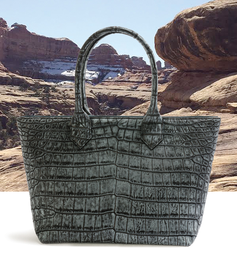 Vendome Tote, Graphite Sueded Crocodile. Background: Canyonlands, Utah