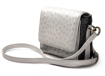 The Mini Convertible Crossbody , White and Black Pearl Ostrich, Imperial Red Lamb Leather Lining