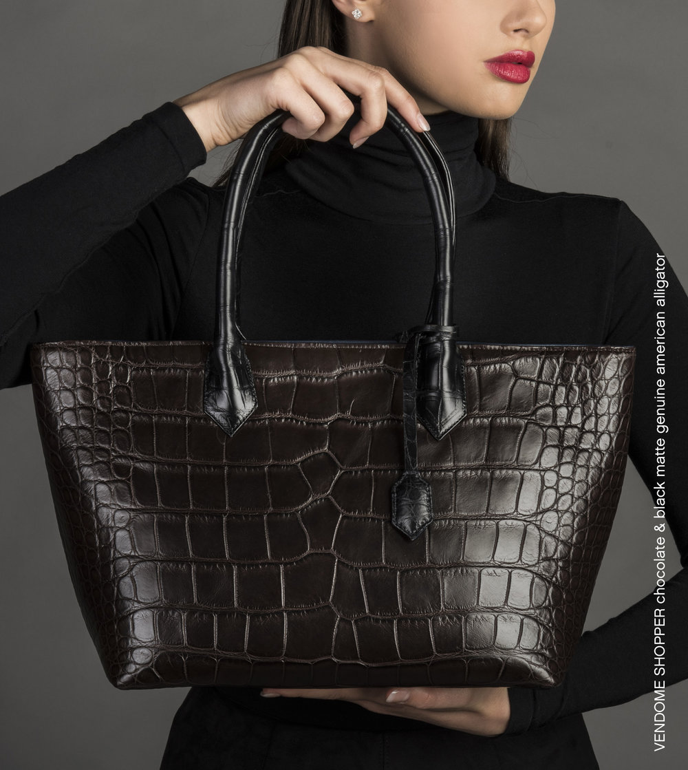 Anne Sylvain Vendome Tote Genuine Alligator