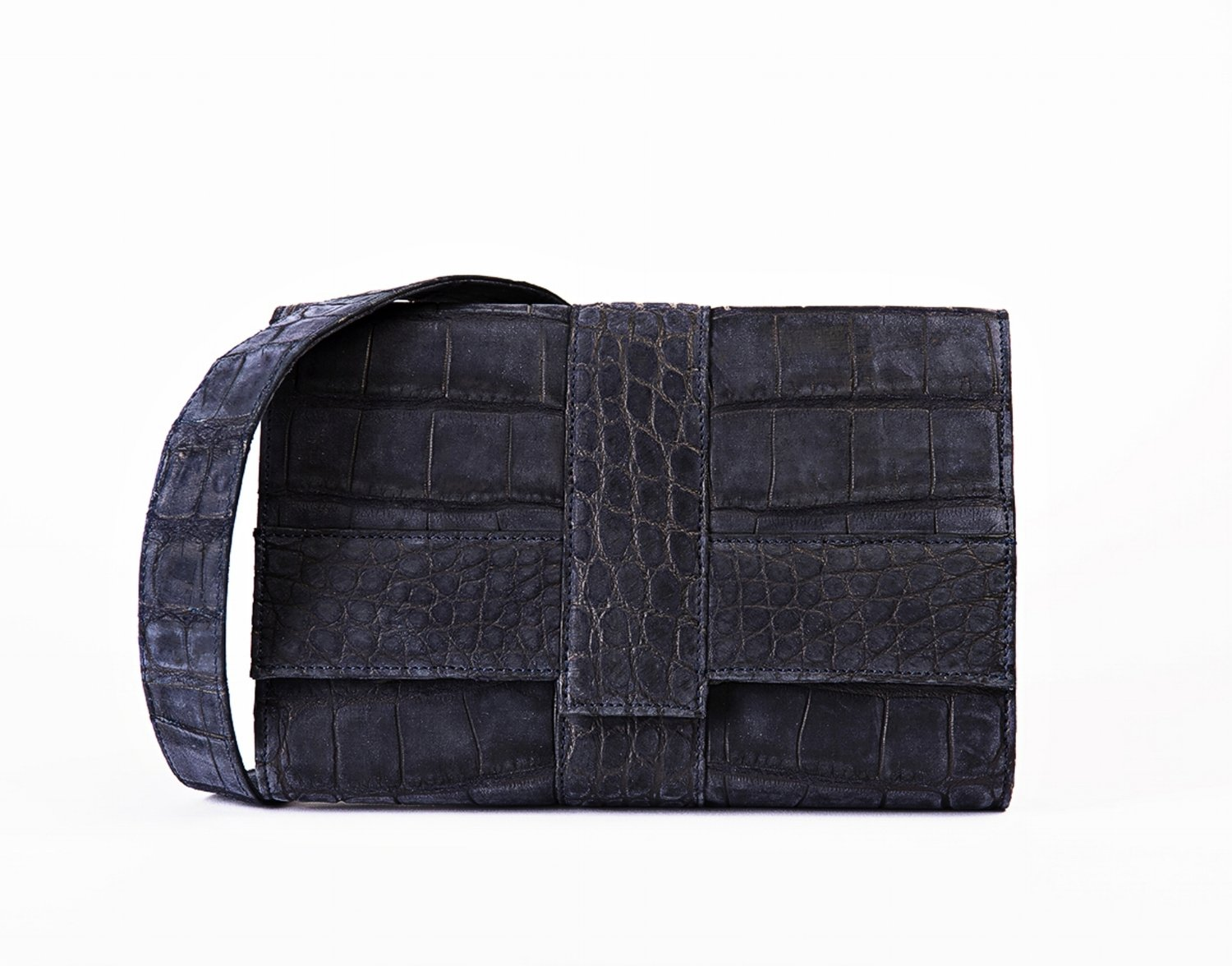 Falling Water I Satchel Navy Nubuck Alligator 3cabc5f1b9c82
