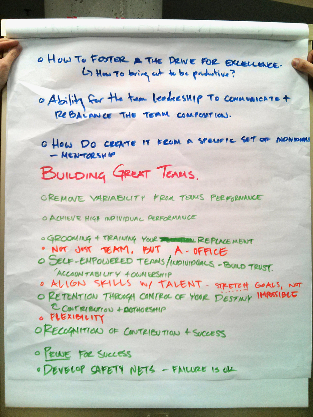Corrie Messinger, Peter Ruggiero, Janis Brackett, Patricia Canevarimembers of the A-Team Hack worked to define the baseline for makes a greatA-Team