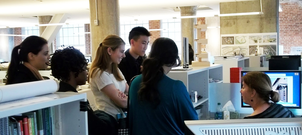 Students chatting with architect at the 2012 San Francisco NOMA student firm crawl.