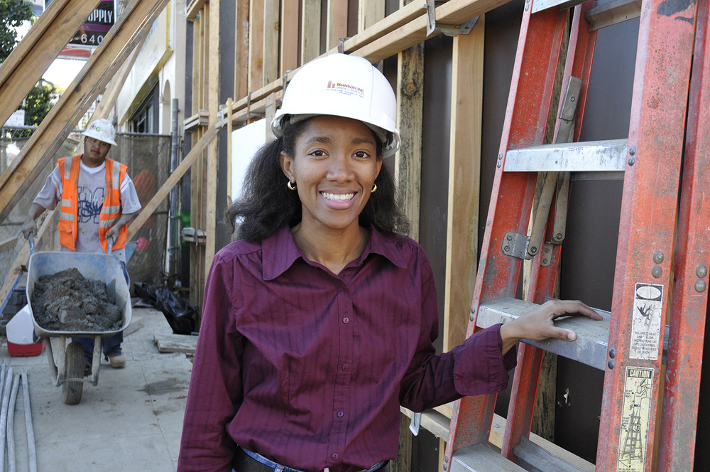 Katherine Williams at construction site