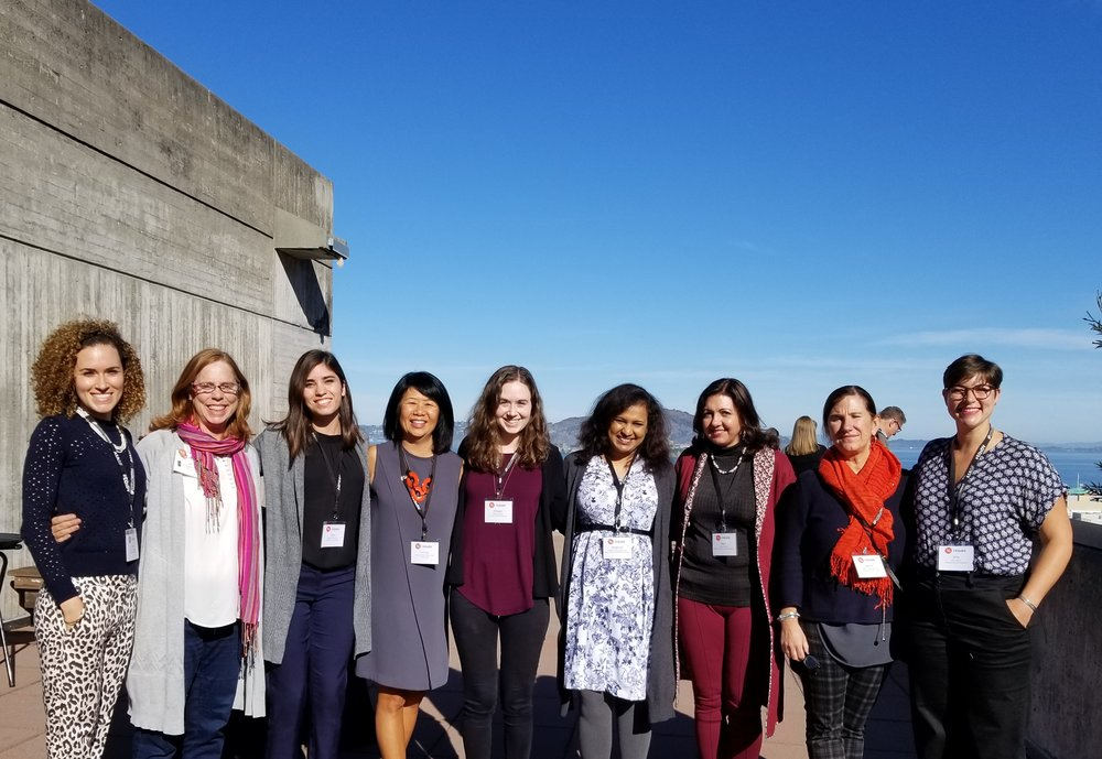 "#EQxDV ""Plus One"" Scholarship Winners and Mentors - (Left to Right) Taylor Holloway, Jill Bergman, Olga Bracamontes, Frances Choun, Maggie Gaudio, Meghana Joshi, Mani Farhadi, Saskia Dennis-van Dijl, Itria Licitra. (Patricia Ramallo not pictured) Photo credit: Jordan A. Lim."