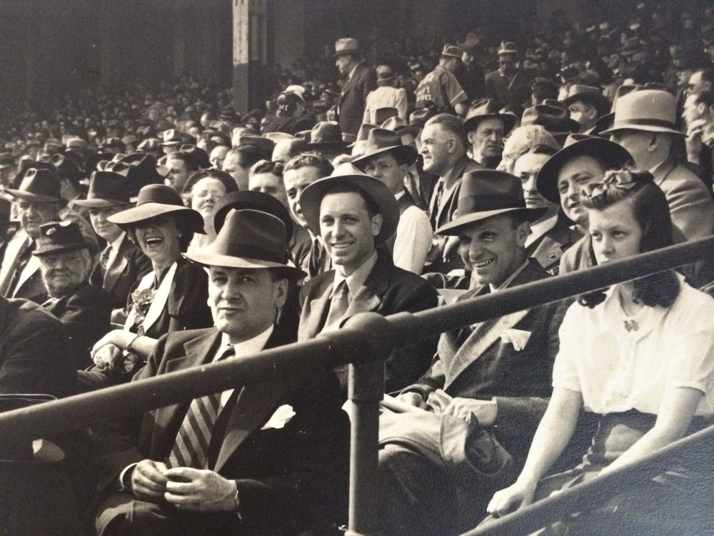 There he is, 33 (or 34?) years old at center, at Offermann Stadium in Buffalo for opening day of the Buffalo Bisons' 1946 (or 1947?) season.