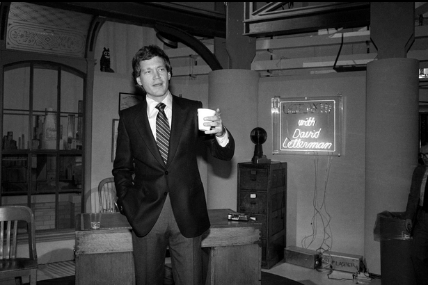 "Letterman, seen here at age 34 in January 1982, poses in NBC's Studio 6A two weeks before ""Late Night with David Letterman"" premiered after ""The Tonight Show Starring Johnny Carson.""  Photo via the AP"