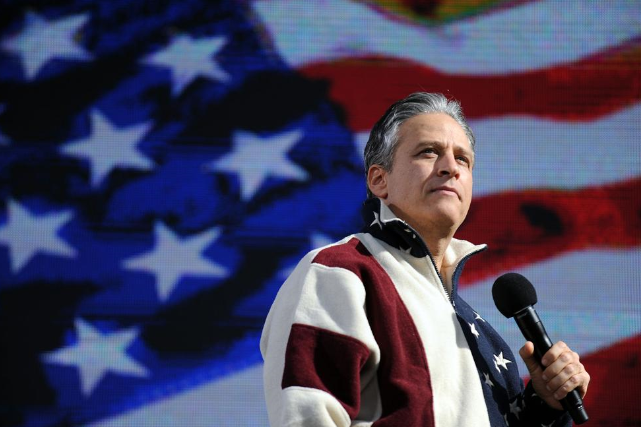 Jon Stewart holding a satirical rally on the National Mall Oct. 30, 2010. (Astrid Riecken / THE WASHINGTON POST)