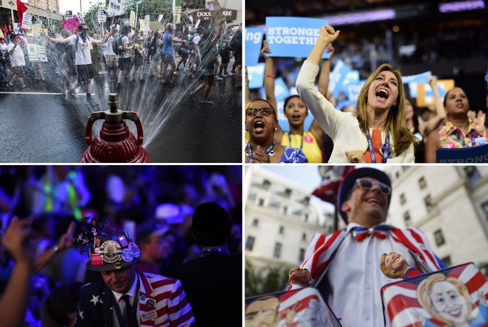 Scenes from the DNC in Philly. Photos by (clockwise): Michael Robinson Chavez and Melina Mara for The Washington Post,John Minchillo for the AP, Toni L. Sandys for The Washington Post.