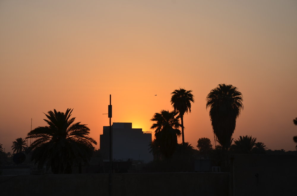 Sunset in Baghdad, from the roof of the Washington Post bureau, Sept. 19, 2011. (Photo by Dan Zak)
